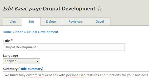 Drupal Page Content